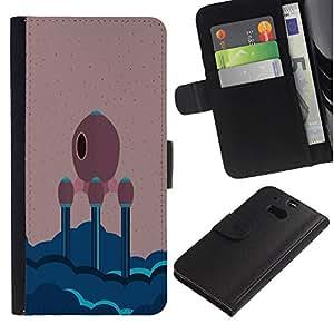 KLONGSHOP // Tirón de la caja Cartera de cuero con ranuras para tarjetas - NAVE ESPACIAL MINIMALISTA - HTC One M8 //