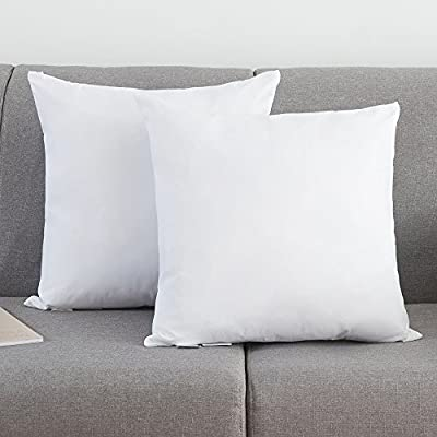 Set of 2, YSTHER Down and Feather Pillow Inserts / Throw Pillows, Double Fabric, 100% Cotton, White