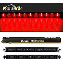 "Partsam 2x 15"" Smoke Lens Red 11 LED Car Trailer Truck Stop Turn Tail Brake Light ID Bar Waterproof"