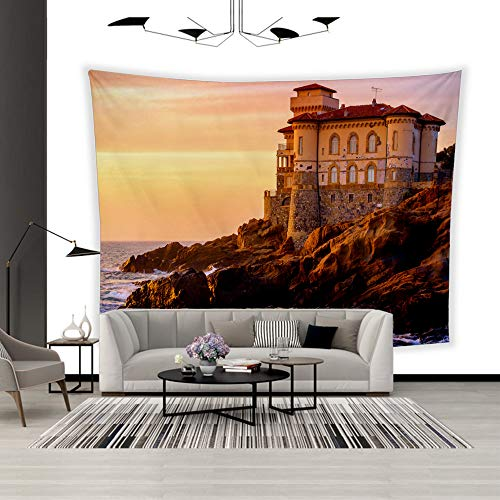 - BEISISS Art Polyester Wall Hanging Tapestry,Theme- Boccale Castle on Tuscany Coast,Bedroom Living Room Dormitory Wall Hanging Tapestry-80 x60
