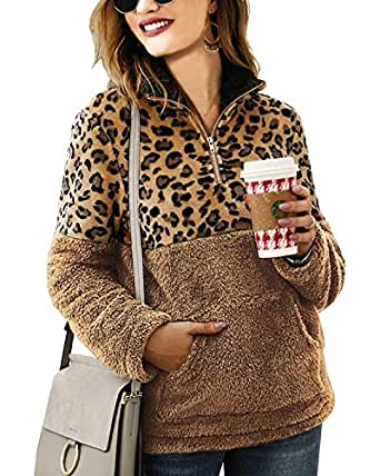 Zwirelz Women's Sherpa Pullover Soft Fuzzy Fleece Zipper Sweatshirt Jacket Sweater Winter Coat (A-Leopard Brown, Small)