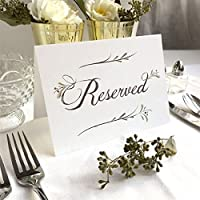"4 Pack- Rustic White Reserved Wedding Table Signs - Folded Freestanding White Table Signs (4) - 6.25"" x 4.5"""