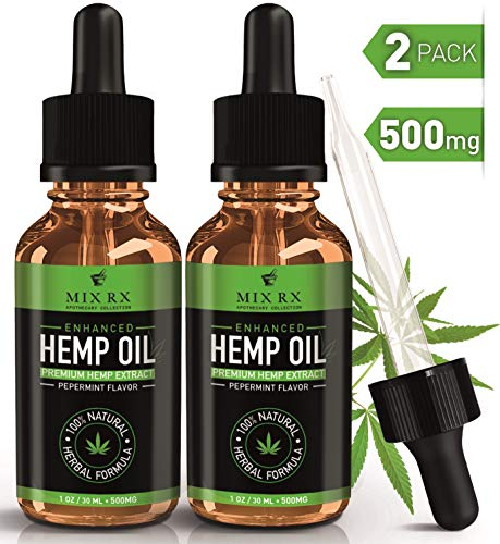 (2 Pack) Hemp Oil for Anxiety Pain Relief Sleep Support (500mg | 30ml) Natural Organic Hemp Seed Full Spectrum Extract - Zero THC CBD Cannabidiol - Best Pure Herbal Supplements - Tincture Oil Drops