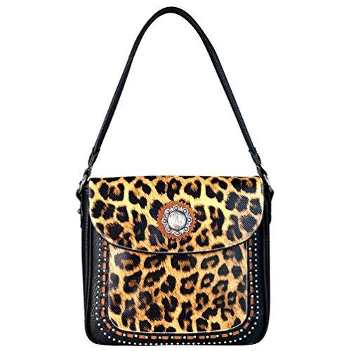 Montana West Handbags Concealed Carry Hobo Purse Leopard Print Handgun MW668G-918 (Black) Leopard Print Hobo Handbag