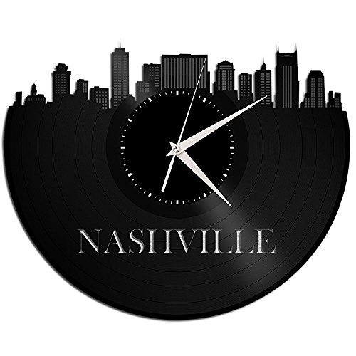 VinylShopUS - Nashville Tennessee Vinyl Wall Clock City Skyline Travel - Wall Tennessee Clock