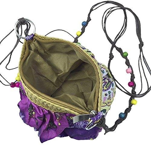 Abaría - Bolso tejido crossbody bag mujer?verde borgoña