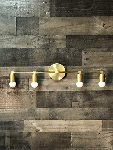 Wall Sconce Gold Raw Brass 4 Bulb Vanity Light Fixture Bathroom Lighting Mid Century Modern Fixture Contemporary Lighting ()
