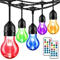 48FT Color Changing Outdoor String Lights, RGB Cafe LED String Light with 15+3 E26 Shatterproof Dimmable Edison Bulbs, Commercial Grade Light String for Patio Backyard Garden, 2 Remote Controls