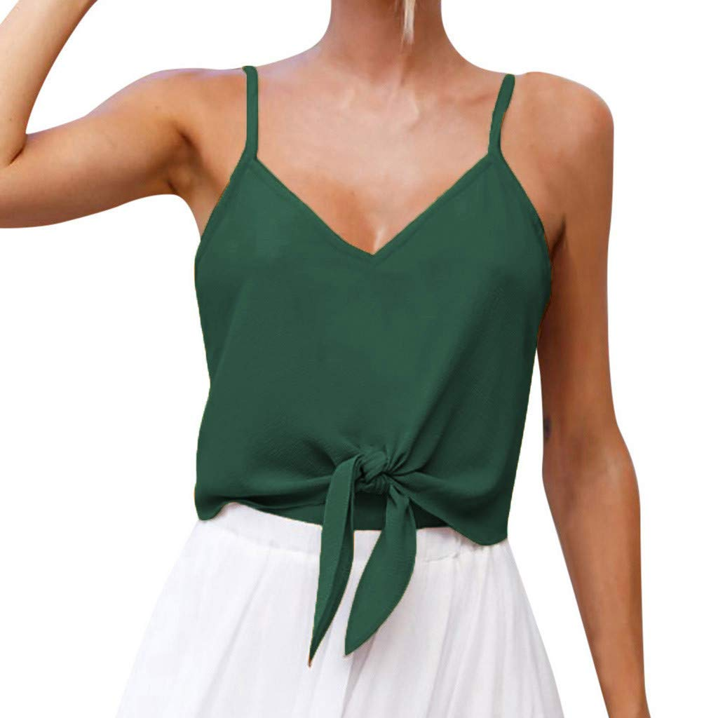Design Shirt,Youngh Women's Summer Casual Solid Sleeveless Design Shirt Tank Top Blouse Blouse Vest Green