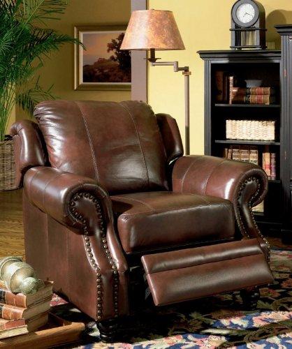Beau Classic Burgundy Leather Chair With Neilhead Trim