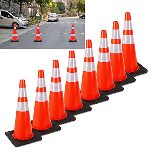 "8× 28"" PVC Traffic Cones Parking Road Safety Cone w/Black Base 2 Reflective Collars from TFCFL"
