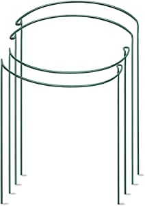 """VeSumly Plant Support Stake, 4-Pack Half Round Metal Garden Plant Support Stake for Tomato, Garden Plant Support Ring, Plant Cages Include 6 Plant Labels(9.8"""" Wide x 15.7"""" High)"""