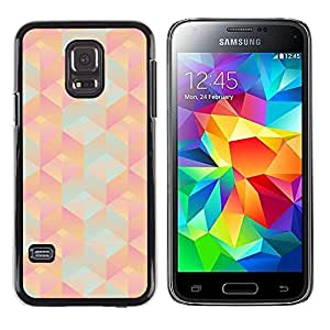 Plastic Shell Protective Case Cover || Samsung Galaxy S5 Mini, SM-G800, NOT S5 REGULAR! || 3D Polygon Pattern Peach Pink Teal @XPTECH