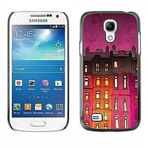Be Good Phone Accessory // Dura Cáscara cubierta Protectora Caso Carcasa Funda de Protección para Samsung Galaxy S4 Mini i9190 MINI VERSION! // Building Night Purple Lights