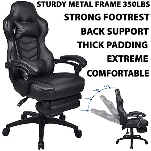 Black Pu Leather Rocker - 350Lbs Gaming Chair Ergonomic High Back PU Leather Racing Style with Adjustable Armrest, Strong Footrest and Back Recliner Swivel Rocker Office Chair (Black)