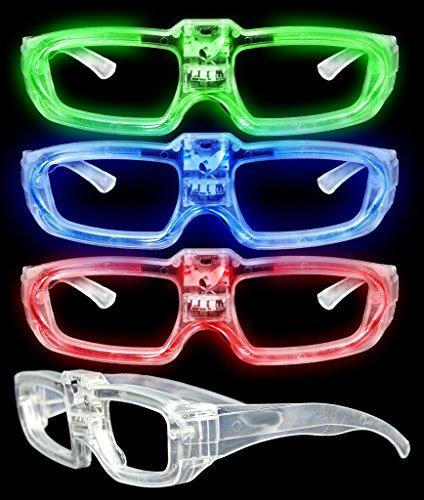 LED Light Up Sound Activated Eye Glasses- Assorted Color 4 PACK (Sound Reactive Glasses)