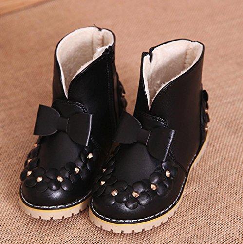 Hunpta Kinder Warm Jungen Mädchen Bowknot Blumen Sneaker Stiefel Kinder Baby Casual Schuhe Schwarz