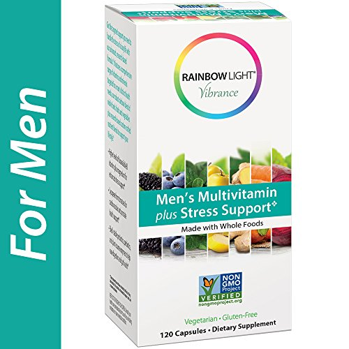 Rainbow Light Vibrance, Men's Multivitamin plus Stress Support, Made with Whole Foods, Eases Stress, Supports Healthy Stress Response, Fortifies the Immune System, 120-Count (Plus Light Rainbow)