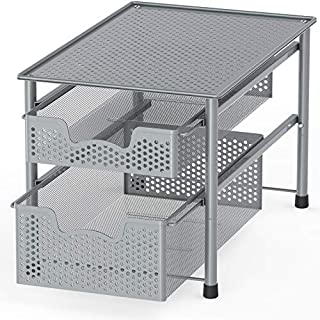 Simple Houseware Stackable 2 Tier Sliding Basket Organizer Drawer, Silver