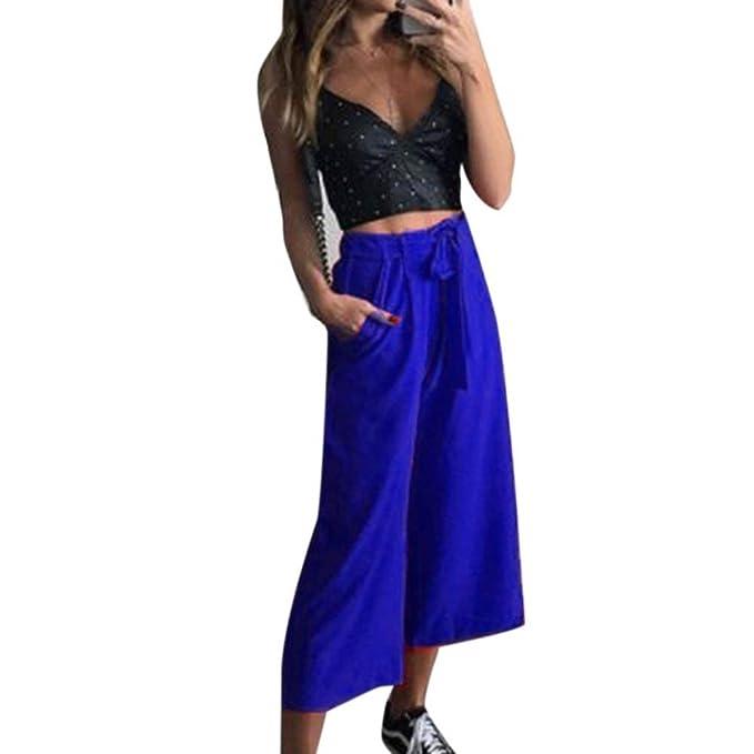 Damen Palazzo Hosen Fashion Einfarbig High Waist mit Gürtel Freizeithose Elegante  Mode Marken Loose Bequeme Weiten Bein Damenhosen Sommerhose  Amazon.de  ... 1d9535d0d6