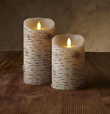Luminara® Real Flame Effect, Birch Bark Finish, Unscented Wax Pillar Candle
