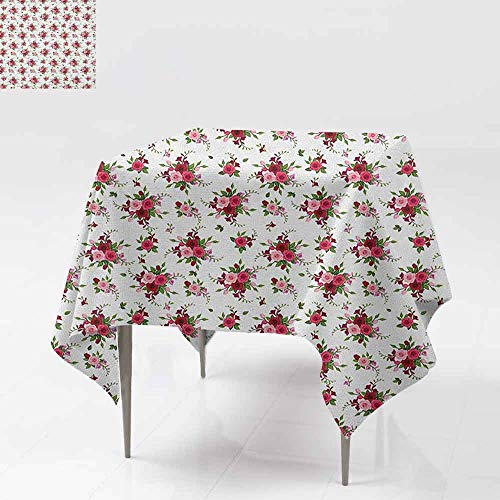 AndyTours Tablecloth for Kids/Childrens,Flowers,Bridal Bouquets Pattern with Roses and Freesia Romantic Victorian Composition,for Events Party Restaurant Dining Table Cover,54x54 Inch Pink Ruby Green