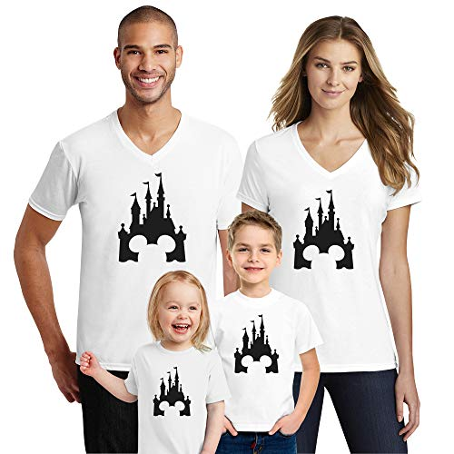 Natural Underwear Family Trip #2 Castle V Neck T-Shirts Family Mouse Family Trip T-Shirts Cotton V Neck Tee Shirts White Youth Girls Large (Shirts Tee Daddy)