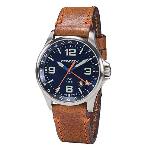 Torgoen T9 Blue GMT Pilot Watch | 42mm - Brown Leather Strap