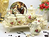 ufengke9 Pieces Creative European England Luxury Hand Painted Red And Gold Flower Ivory Porcelain Ceramic Coffee Set Tea Set Tea Service