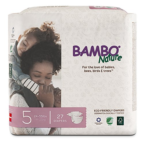 Bambo Nature Eco Friendly Premium Baby Diapers for Sensitive Skin, Size 5 (24-55 lbs), 27 Count ()