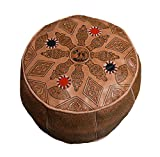 Moroccan Poof 100% Leather Handmade & Hand Carved Traditional Footstool Pouf Tribal Berber Ottoman Unique design For Sale