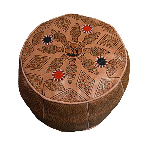 Moroccan Poof 100% Leather Handmade & Hand Carved Traditional Footstool Pouf Tribal Berber Ottoman Unique design