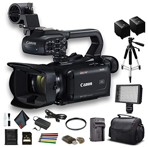 Canon XA40 Professional UHD 4K Camcorder (3666C002) W/Extra Battery, Soft Padded Bag, 64GB Memory Card, LED Light, UV Filter, Tripod and More Starter Bundle