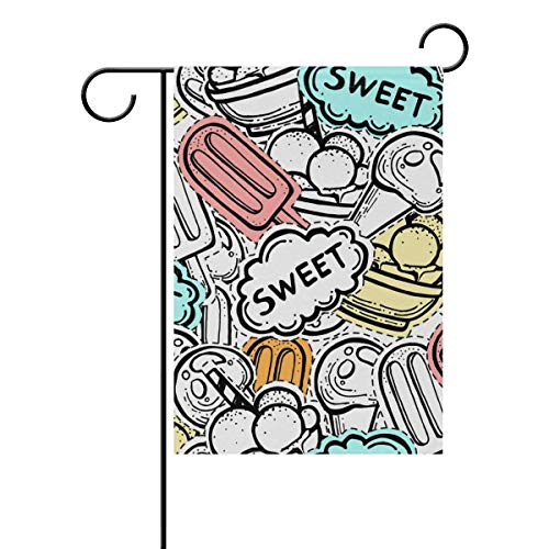 Cute Sweet Dessert Candy Popsicle Summer Garden Flag Flags Yard Banner for Outside House Flower Pot Double Side Print 28x40IN