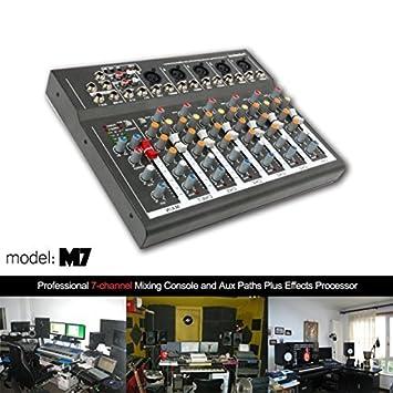 Amazon.com: Consola mezcladora de audio profesional de 4/7 ...