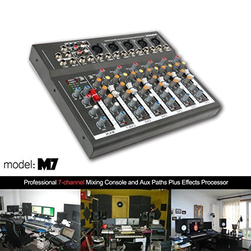 4/7 Channel Professional Powered Mixer Power Mixing Live Studio Audio Sound DJ-Mixer Mixing Console with USB slot (7 Channel)