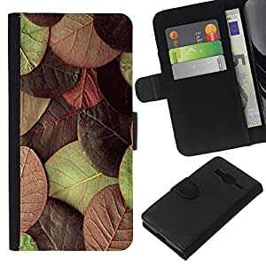 Stuss Case / Funda Carcasa PU de Cuero - Hojas de oto?o verde marr¨®n - Samsung Galaxy Core Prime