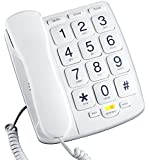 Emerson EM300WH Big Button Corded Phone Designed For Elderly People - Works in Power Outage For Emergencies