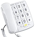Emerson EM300WH Big Button Phone for Elderly Seniors, Corded Phone with Speakerphone, Landline