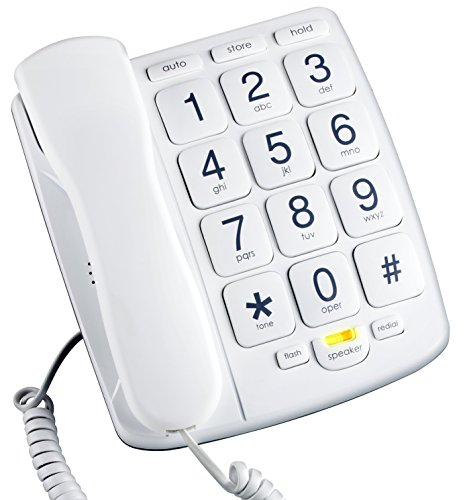 Basic Corded Telephone - Emerson EM300WH Big Button Phone for Elderly Seniors [Improved Version with Longer Wire] Landline Corded Phone with Speakerphone