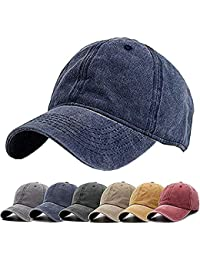 2ae9bd59 Unisex Vintage Washed Distressed Baseball-Cap Twill Adjustable Dad-Hat