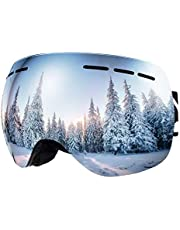 BFULL Men and Women OTG Ski Goggles, Anti-fog, Anti-glare,100% UV400 UV Protection Lens Sunglasses, Suitable for Skiing Snowboarding Downhill Skis,Two Style of Lens Sunglasses