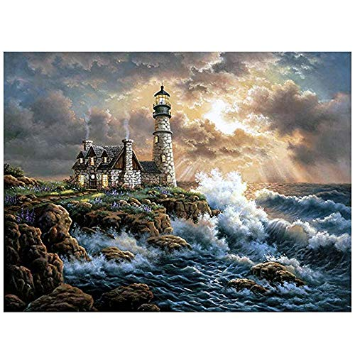 5D DIY Diamond Painting - by Number Kits -Crafts & Sewing Cross Stitch, Wall Stickers for Living Room, Lighthouse (16x20 Inch)