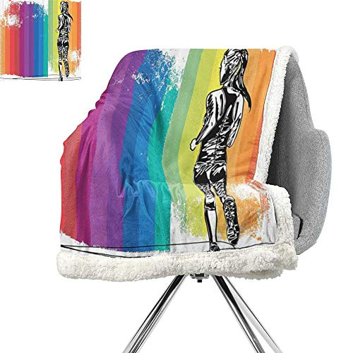 ScottDecor Olympics Decorations Flannel Bed Blankets,Female Marathon Runner Illustration on Vertical Stripes in Rainbow Color,Orange Purple Blue,Plush Throw Blanket W59xL47 Inch