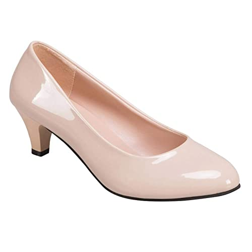Tacón Cuero Alto Mujeres Tribunal Bombas Gtagain Zapatos Mujer KJFl1c