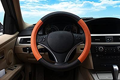 Orange Sport Car Steering Wheel Cover PU Leather Size 14""