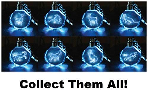 Receive 1 of 8 Crystal Patronus Key Rings with LED Blue Light Harry Potter Patronus Collectible Key Chain Mystery Blind Box Collect All 8 Series 1