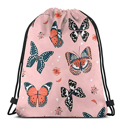 Sweet Tone Of Butterflies Flying In The Garden Personalized Drawstring Backpack Bag Sport Gym Sackpack For Men And Women Outdoor Travel -