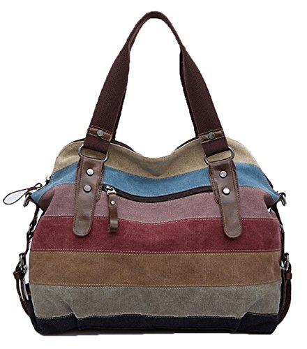Porté Épissure En Pour Femme Bag Main Épaule Capacité Sac Dato Multicolore Toile Grande Rétro À Bandoulière Rayée Messenger T6Zwq