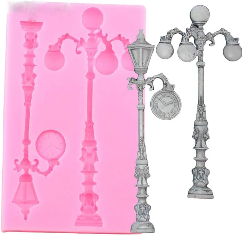Vintage Street Lamp Silicone Mold for DIY Cupcake Cake Topper Decoration Fondant Mold Gum Paste Desserts Pudding Jelly Shots Soap Mould Crystal Chocolate Candy Handmade Ice Cream Ice Cube